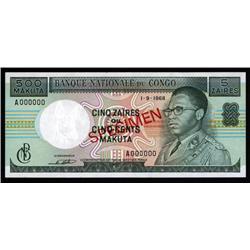 Congo - Banque Nationale Du Congo, 5 Zaires = 500 Makuta, 1968 Issue Specimen.
