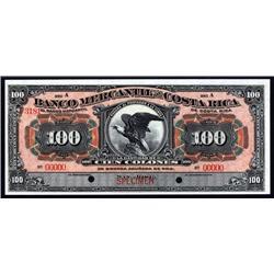Costa Rica - Banco Mercantil De Costa Rica, 1909-16 Issue Specimen Banknote.