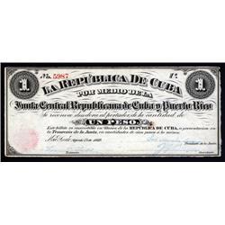 Cuba - La Republica De Cuba, Junta Central Republicana de Cuba y Puerto Rico, 1869 Issue.