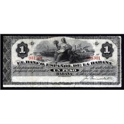 Cuba - El Banco Espanol De La Habana, 1872 Second Issue.