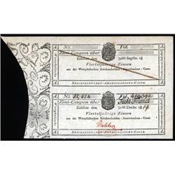 German States - Westphalia, Reichsschulden-Amortisations-Casse, 1819 Uncut Pair Banknotes.