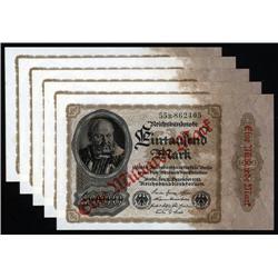 Germany -  Weimar Republic - Reichsbanknote, Republic Treasury Notes, 1923 Seventh Issue Quintet.