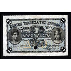 Greece - National Bank of Greece, 1885 Issue, Specimen Banknote.