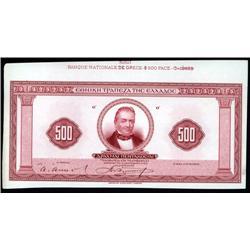 Greece - Banque Nationale De Grece, 1923 Second Issue Color Trial Proof Banknote.
