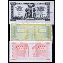 Greece - Occupation - Bank of Greece, 1942 Inflation Issue Progress Proof Trio.