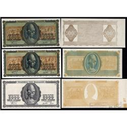 Greece - Occupation - Bank of Greece, 1943 Inflation Issue Progress Proof Sextet.