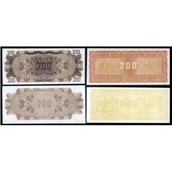 Greece - Occupation - Bank of Greece, 1944 Inflation Issue Progress Back Proof Quartet.