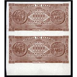 Greece - Occupation - Bank of Greece, 1944 Inflation Issue Uncut Specimen Pair.