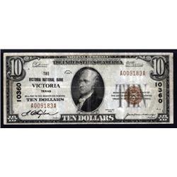 Texas - Victoria, TX, $10 1929 Type 1, Ch.# 10360.
