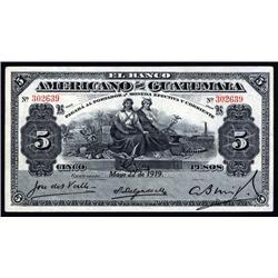 Guatemala - Banco Americano De Guatemala, 1919 Issue Banknote.