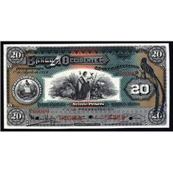 Guatemala - Guatemala, Banco de Occidente,20 Pesos, Specimen