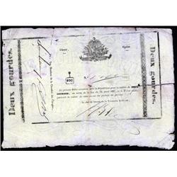 Haiti - Republique D'Haiti, Billets De Caisse, Loi Du 16 Avril 1827 - First Issue Banknote.