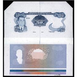 Honduras - Banco Central De Honduras Progress Proof Note With Color Separations.