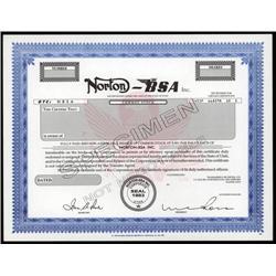 Utah - Norton-BSA Inc. Stock Cert.