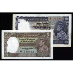 India - Reserve Bank of India, 1937 Issue Pair.