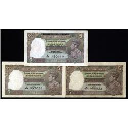India - Reserve Bank of India, 1937 Issue Trio.