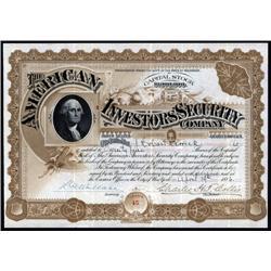 Colorado - American Investors Security Co. Stock Certificate.