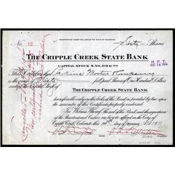 Colorado - Cripple Creek State Bank Stock Certificate.