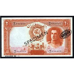 Iran - Bank Melli, Iran, ND (1944) Issue Specimen Banknote.