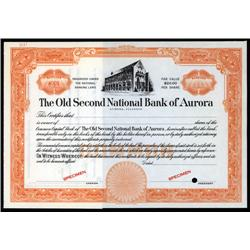Illinois - Old Second National Bank of Aurora Stock Cert.
