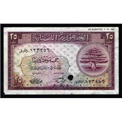 Lebanon - Republique Libanaise, 1948 Issue Specimen Banknote.