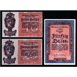 Liechtenstein - Duchy of Liechtenstein Credit Notes 1920 Issue Trio