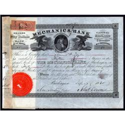 New Jersey - Mechanics Bank of Burlington Stock Cert.