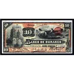 Mexico - Banco De Durango, 1891-1914 Issue Banknote.