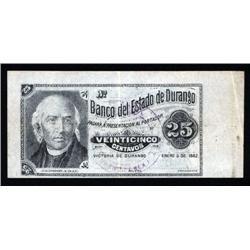 Mexico - Banco Del Estado De Durango, 1882 Issue.