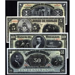 Mexico - Banco De Hidalgo, 1902-1914 Issue Quartet.