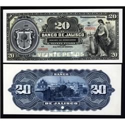 Mexico - Banco De Jalisco, 1900-1914 Second Issue Proof Banknote.
