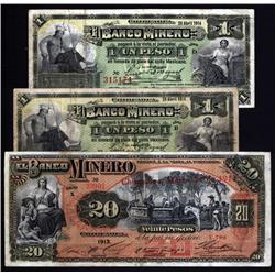 Mexico - El Banco Minero, 1913-1914 Issue Trio.