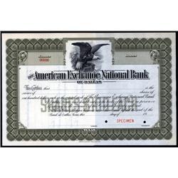 Texas - American Exchange National Bank of Dallas.