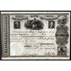 Virginia - Exchange Bank of Virginia 1847 Stock Certificate.