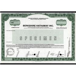Nebraska - Berkshire Hathaway Inc. Historic Specimen Stock Certificate of First Issue.