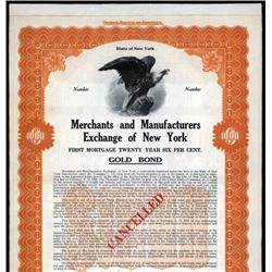 New York - Merchants and Manufacturer's Exchange of New York Specimen Bond.
