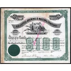 Montana - Kalispell Brewing & Malting Co. Stock Certificate.