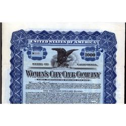 California - Women's City Club Company, Issued Bond.