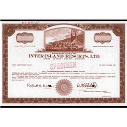 Hawaii - Inter-Island Resorts, Ltd. Stock Cert.