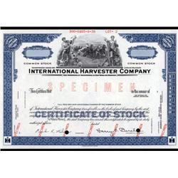 Illinois - International Harvester Co. Stock Cert.