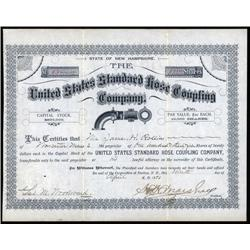 New Hampshire - United States Standard Hose Coupling Co. Stock Certificate.