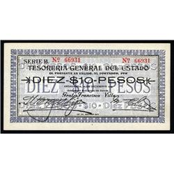 """Mexico - Tesoreria General Del Estado, 1913 Pancho Villa """"Bed sheets"""" Issue."""