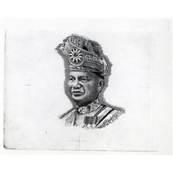 Malaysia - Bank Negara Malaysia, T.A.Rahman Portrait Proof Used on 1967 to 2004 Issues.