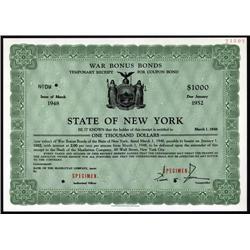 New York - War Bonus Bond Temporary Receipt Specimen.