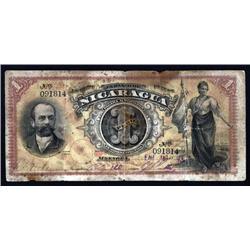 Nicaragua - El Banco De Nicaragua, 1889; 1890 Issue Banknote.