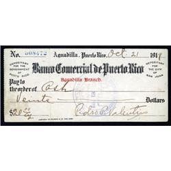 Puerto Rico  - Banco Comercial De Puerto Rico, 1919 Issued Check.
