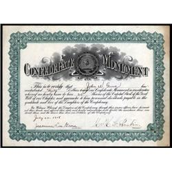 Virginia - U.S. Daughters of the Confederacy CONFEDERATE MONUMENT Certificate.