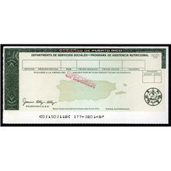Puerto Rico  - Gobierno De Puerto Rico, Specimen Government Food Warrant.
