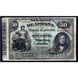 Spain - El Banco De Espana, 1884 First Issue Banknote.