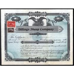 Montana - Billings Sheep Company Stock Certificate.